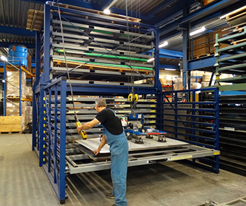 Warehouse sheet metal rack