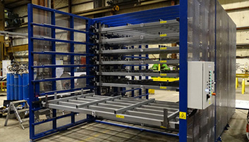 Automated storage rack with electrical controls